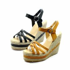 Ladies strappy platform high wedge heel sandals / shoes