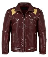 Men's BEAT IT Cherry Red // Gold Michael Jackson Style MUSIC Real Leather Jacket