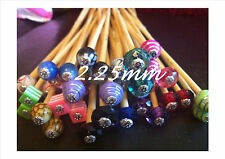 1 PAIR BEADED BAMBOO KNITTING NEEDLES, SIZE 2.25mm CHOOSE LENGTH, SIZE & BEAD