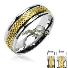 316 Surgical Stainless Steel Rings/Grooved IP Gold Mens/Womens Wedding Band