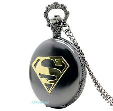 Antique Superman Super Hero Necklace Chain Pendant Fob Pocket Watch Steampunk