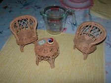 DOLL FURNITURE WICKER 3 PIECES WITH BONUS NEW NOT USED