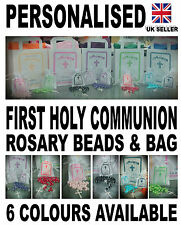 GIFT Rosary Beads supplied in a personalised satin bag 1st first holy communion