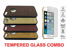 Wood Grain Look Hard Plastic Cover Case iPhone 4 / 4S CHECK Tempered GLASS COMBO