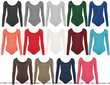 WOMENS LONG SLEEVED SCOOP NECK LEOTARD SOFT STRETCH BODYSUIT DRESS TOP