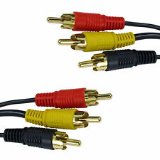 Triple 3 RCA Male to 3 RCA Male Plug Splitter Audio Video AV Adapter Cable Lead