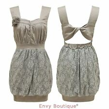 Ladies Strappy Bubble Hem Lace Puffball Vintage Womens Floral Evening Dress