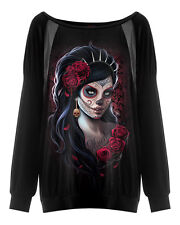 Spiral Direct DAY OF THE DEAD, Leatherlook Striped Gathered Sleeve|Roses|Skulls