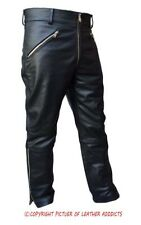 MENS SEXY REAL BLACK LEATHER MOTORCYCLE BIKERS PANTS JEANS TROUSERS GAY - J6