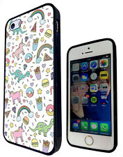 1047 Unicorn Dinosaur Funky Cover Rubber Case For iphone SE 4 5 5C 6 6S/6S Plus