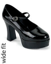 Black Patent Mary Jane Wide Fit Womens Shoes