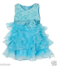 Luke and Lilly  kids  Party wear Designer Princess Girls Frock - Sky Blue