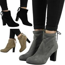 SALE ! WOMENS LADIES PULL ON TIE BACK MID BLOCK HEEL WORK ANKLE BOOTS SHOES SIZE