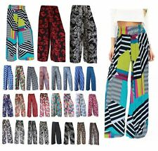 Ladies Women Multicolor Aztec Print Flared Wide Leg Palazzo Floral Trouser Pants