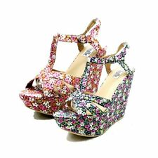 Ladies canvas floral wedge heel platform peep toe sandals