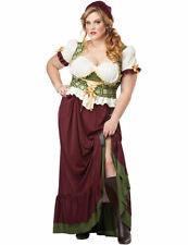 Ladies Medieval Renaissance Peasant Lady Plus Size Fancy Dress Costume