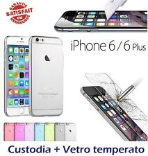 Lotto custodia + vetro temperato Iphone 6, 6S / 6, 6S Plus Pacco pellicola