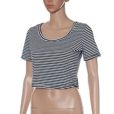 Sexy Da Donna Righe Manica Corta Casual Girocollo Top Corto girocollo T-Shirt