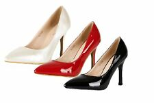 Ladies Patent Pointed toe high heel stiletto court shoes