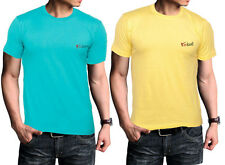 Men T Shirts Combo Pack of 2 Round Neck Plain T Shirts Yellow & Blue