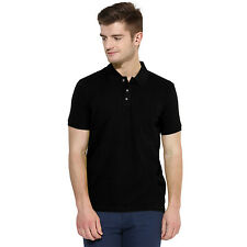 Polo Nation Men Black Solid Cotton Polo T-Shirt