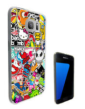 114 StickerBomb Cartoon Case Cover For Samsung Galaxy J1 J3 J5 A3 A5 S6 S7 Edge