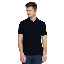 POLO NATION MEN NAVY BLUE SOLID COTTON POLO T-SHIRT
