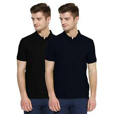 Polo Nation Men Black & Navy Blue Solid Cotton Polo T-Shirt Pack of 2