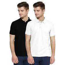 Polo Nation Men Black & White Solid Cotton Polo T-Shirt Pack of 2