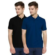 Polo Nation Men Black & Royal Blue Solid Cotton Polo T-Shirt Pack of 2