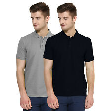Polo Nation Men Grey & Navy Blue Solid Cotton Polo T-Shirt Pack of 2