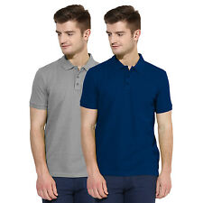 Polo Nation Men Grey & Royal Blue Solid Cotton Polo T-Shirt Pack of 2