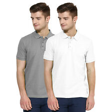 Polo Nation Men Grey & White Solid Cotton Polo T-Shirt Pack of 2