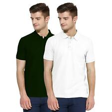 Polo Nation Men Green & White Solid Cotton Polo T-Shirt Pack of 2