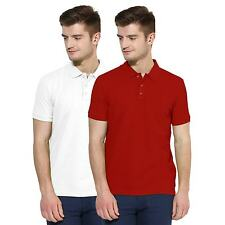 Polo Nation Men White & Red Solid Cotton Polo T-Shirt Pack of 2