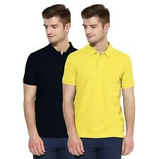 Polo Nation Men Navy Blue & Yellow Solid Cotton Polo T-Shirt Pack of 2