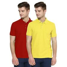 Polo Nation Men Red & Yellow Solid Cotton Polo T-Shirt Pack of 2