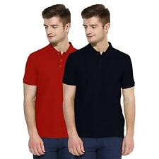 Polo Nation Men Navy Blue & Red Solid Cotton Polo T-Shirt Pack of 2