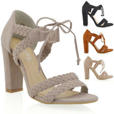 NEW WOMENS STRAPPY BLOCK HIGH HEEL LADIES LACE UP WOVEN PARTY SANDALS SHOES