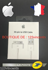 ORIGINAL CABLE CHARGEUR USB 30 PIN IPHONE 3GS/4/4S IPAD 1 2 IPOD APPLE MA591G/C