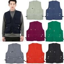 Male Sleeveless Multi Pocket Zip Working Vest Casual New V-neck Jacket Waistcoat