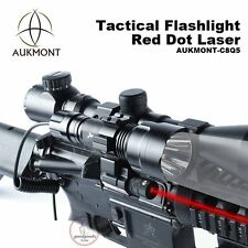 Tactical C8 CREE Q5 LED Flashlight Torch Red Dot Laser Sight Scope Hunting Set