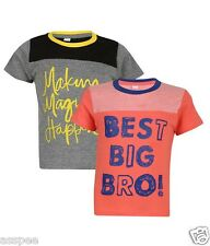 Luke and Lilly Boys Printed Round Neck Cotton Half Sleeve T-Shirt Pack of 2