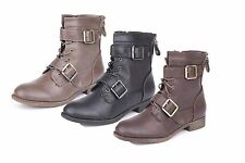 Ladies flat double buckle strap military boots