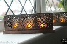VINTAGE MOROCCAN STYLE FILIGREE LED TEALIGHT CANDLE HOLDER SET RUSTIC CANDLE SET