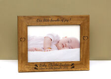 """PERSONALISED LASER ENGRAVED NEWBORN BABY  7"""" X 5"""" PHOTO PICTURE FRAME"""