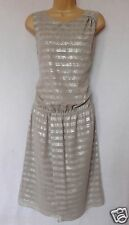 BNWT NEXT New Ladies Ecru silver stripe foil metallic wrap tunic evening dress