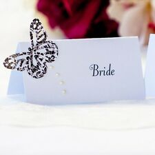 5 x Personalised Place Cards – Weddings etc  – Butterfly with Pearl Drop
