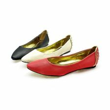 Ladies pointed toe flat shoes with studded detail to back