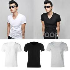 MENS PLAIN COLOR BLACK GREY TEE SHIRTS TOPS COTTON SOLID SUMMER CLOTHES T-SHIRTS